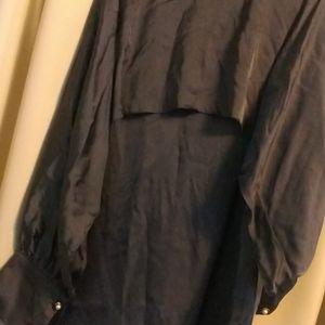 Gray bat wing layered tunic
